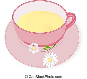 Cup of Chamomile tea vector illustration