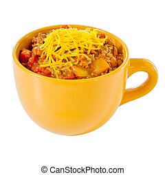 Cup of chili with cheese