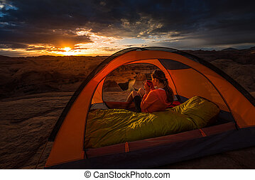 Cup of Coffe at Sunrise Reflection Canyon Utah Lake Powell Camping