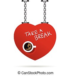 cup of coffe illustration in red heart