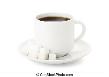 Cup of coffe whith white sugar cubes