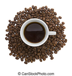 Cup of coffee - A cup of coffee sitting on coffee bean