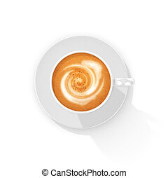 cup of coffee, a top view. 3d illustration