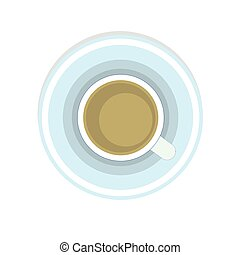 Cup of coffee above clean in ceramic or glass isolated icon vector illustration with on a saucer flat design style