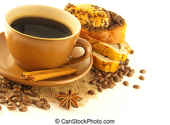 Cup of coffee and appetizing cake on a white background
