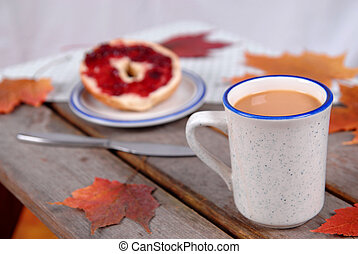 Cup of Coffee and bagel