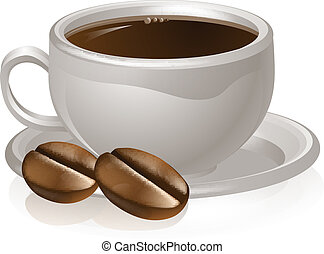 Cup of coffee and beans - Illustration of a cup of coffee ...