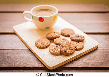 Cup of coffee and biscotti