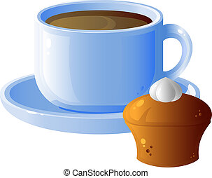 Cup of coffee and cake, breakfast, isolated on white, eps 8 ...