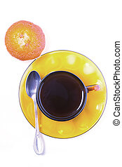 Cup of coffee and cakes on a white background