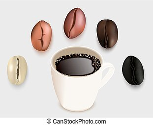 Cup of coffee and coffee beans vector 3d realistic illustration