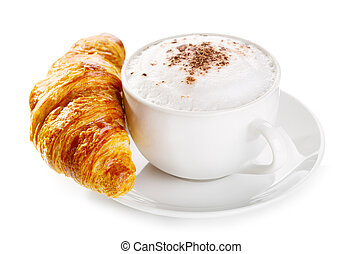 cup of coffee and croissant on white background