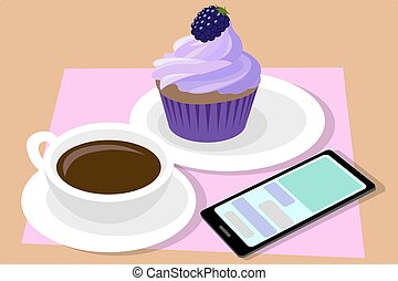 Cup of coffee and cupcake. Phone. Vector.