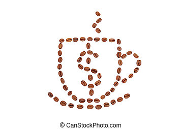 Cup of coffee and dollar sign from