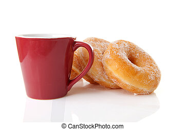cup of coffee and donuts - Cup of coffee and sugared donuts...