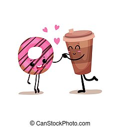 Cup of coffee and glazed donut characters are best friends, funny fast food menu vector Illustration
