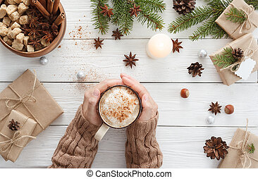 cup of coffee and hands - Woman drinks coffee after ...