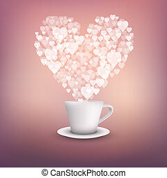 cup of coffee and heart vector background.