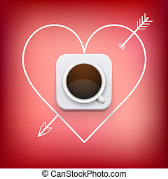 cup of coffee and heart with arrow vector background.