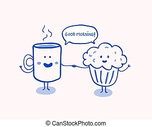 Cup of coffee and muffin