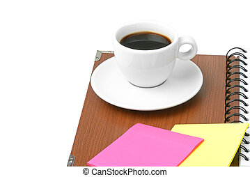 cup of coffee and office supplies - cup of coffee and office...
