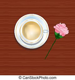 cup of coffee and rose on a  wooden texture