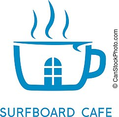 cup of coffee and surfboard vector design template