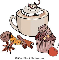Cup of coffee and sweet chocolate cupcake isolated on white background. Vector illustration. For restaurant and cafe menu.