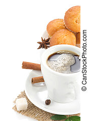 cup of coffee and sweets isolated on white