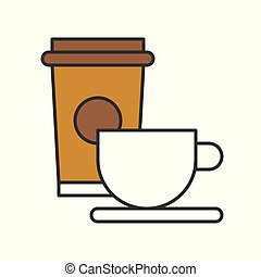 cup of coffee and take away coffee, food and gastronomy set, filled outline icon
