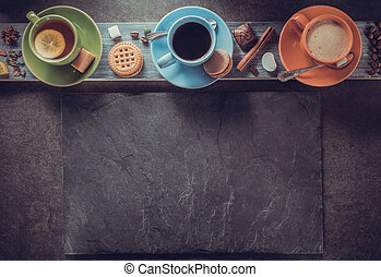 cup of coffee and tea on wood
