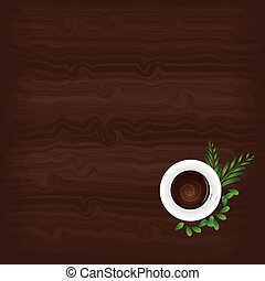 Cup of Coffee and wooden background
