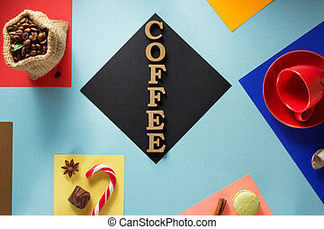 cup of coffee at abstract colorful - cup of coffee at...