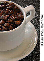 Cup of Coffee Beans - White Cup filled with Coffee Beans