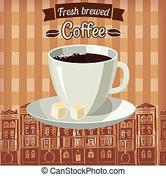 Cup of coffee, cartoon style, vector illustration. poster, baner, template