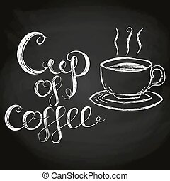 Cup Of Coffee Chalk Lettering Vector Illustration