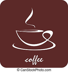 Cup of coffee - The cup of coffee on dark brown background -...