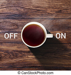 Cup of coffee concept on and off