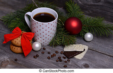 Cup of coffee, cookies and chocolate for Christmas