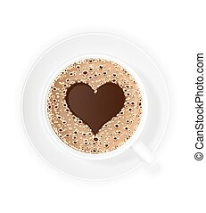 cup of coffee crema and symbol heart vector illustration