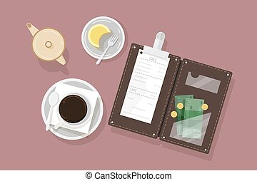 Cup of coffee, dessert on plate, creamer and opened bill holder with restaurant check and cash money, top view. Customer s payment for cafe service. Colorful vector illustration in flat style.