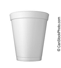 cup of coffee drink food - close up of styro foam coffee cup...