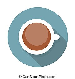 Cup of Coffee Flat Icon with Long Shadow, Vector Illustration