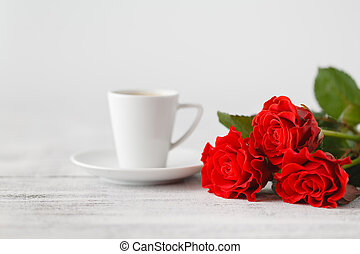 Cup of coffee from lover on valentines day