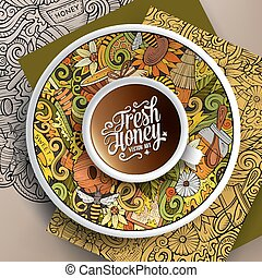 Cup of coffee Honey doodles on a saucer, paper and background