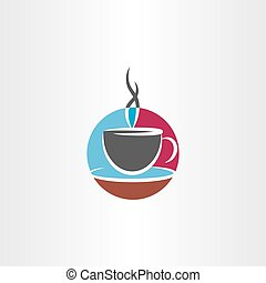 cup of coffee icon colorful logo vector