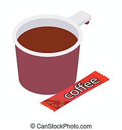 Cup of coffee icon, isometric 3d style