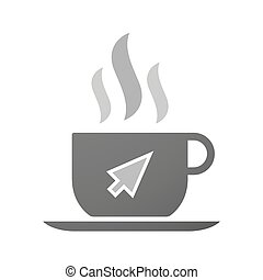 Cup of coffee icon with a cursor