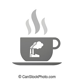 Cup of coffee icon with a factory