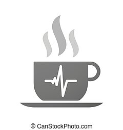 Cup of coffee icon  with a heart beat sign